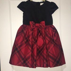 Girls red plaid and black velvet dress